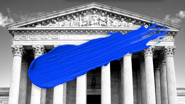 The Supreme Court building in black and white, slashed with blue paint