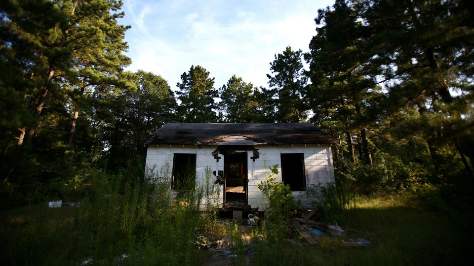 An abandoned-looking house in Jena, the biggest town in Louisiana's LaSalle Parish