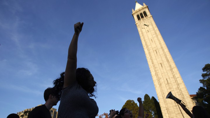 College students demonstrate at the University of California at Berkeley