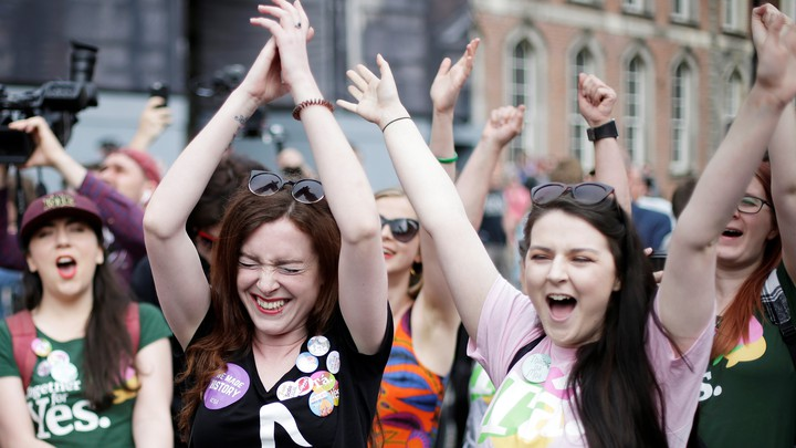 Women react to the results of Ireland's abortion referendum