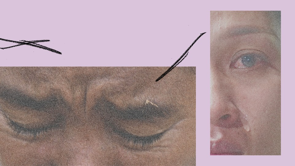 Two close-ups of crying eyes, superimposed on a purple background