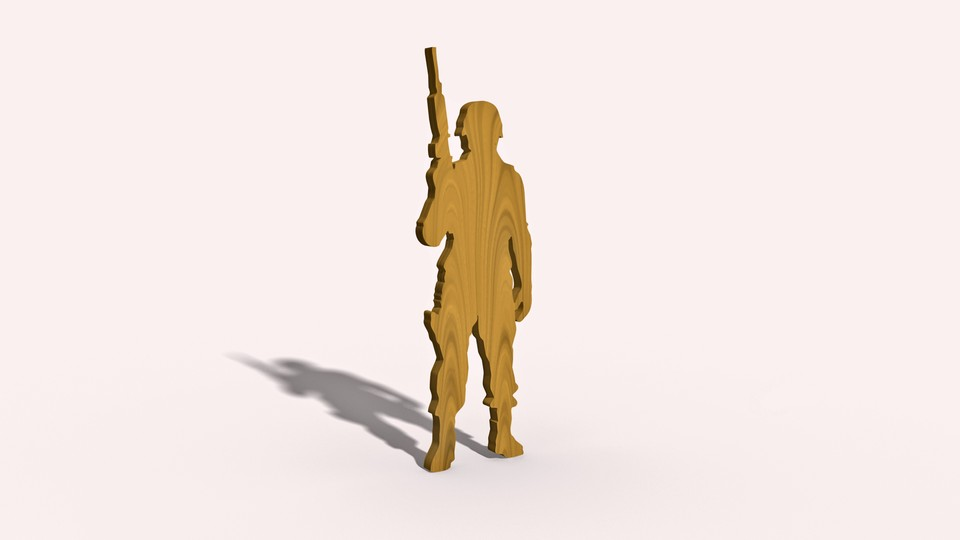 An illustration of a soldier made out of wood