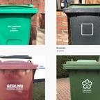 Six different garbage bins