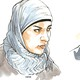 Sketches of a Syrian woman and a Syrian man