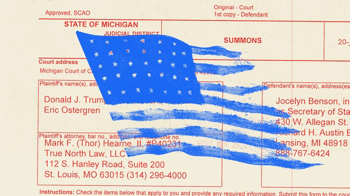 An illustration of an American flag over a State of Michigan court document.