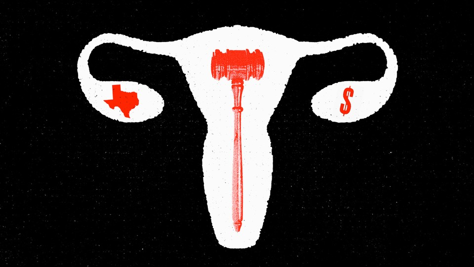 An illustration of a white uterus with a red gavel inside, and white fallopian tubes, with a red state of Texas in the left ovary and a red dollar sign in the right ovary