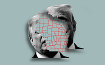 An illustration of Trump's face and a map of Wisconsin.