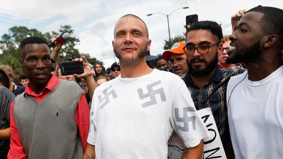 The scene outside a Richard Spencer speech in Gainesville, Florida, on October 19, 2017