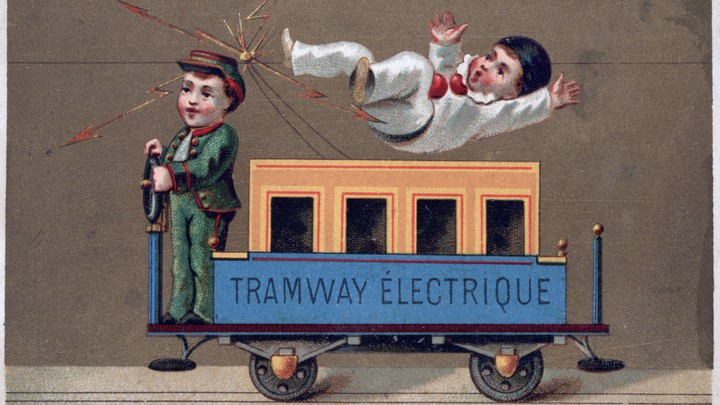 A drawing of childlike persons driving and being struck by a small trolley car labeled Tramway Électrique