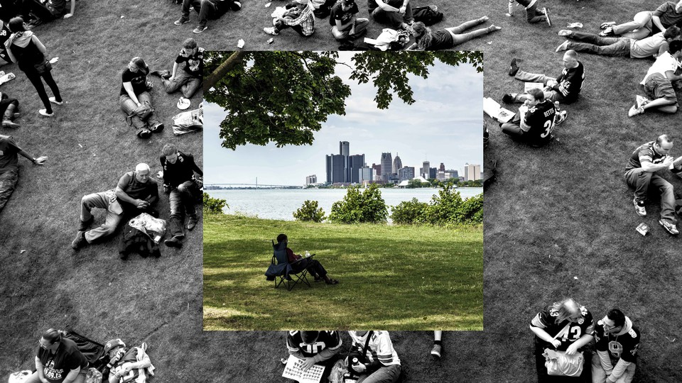 A photo of a man sitting alone in a park superimposed on a photo of people socializing together outdoors