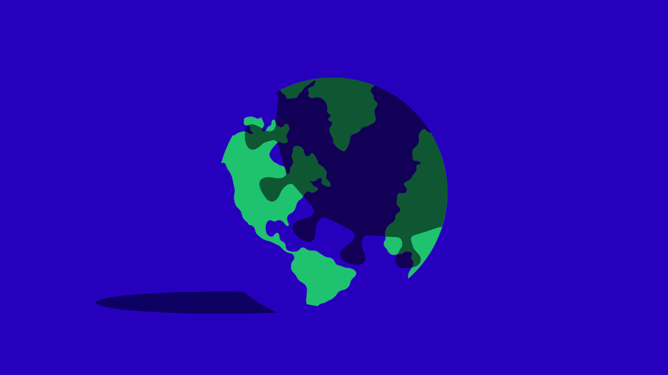 A graphic of the coronavirus casting a shadow over the planet