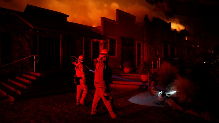 The wind-driven Kincade Fire burns near the town of Healdsburg, California.