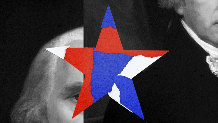 An illustration of a red, white, and blue star atop black-and-white photos of the Founding Fathers