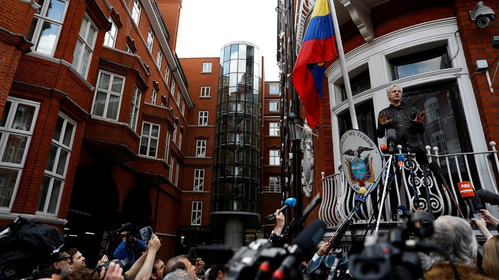 Julian Assange spoke from the balcony of the Ecuadorean Embassy in London on May 19, 2017.