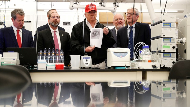 President Trump visiting the Centers for Disease Control and Prevention.