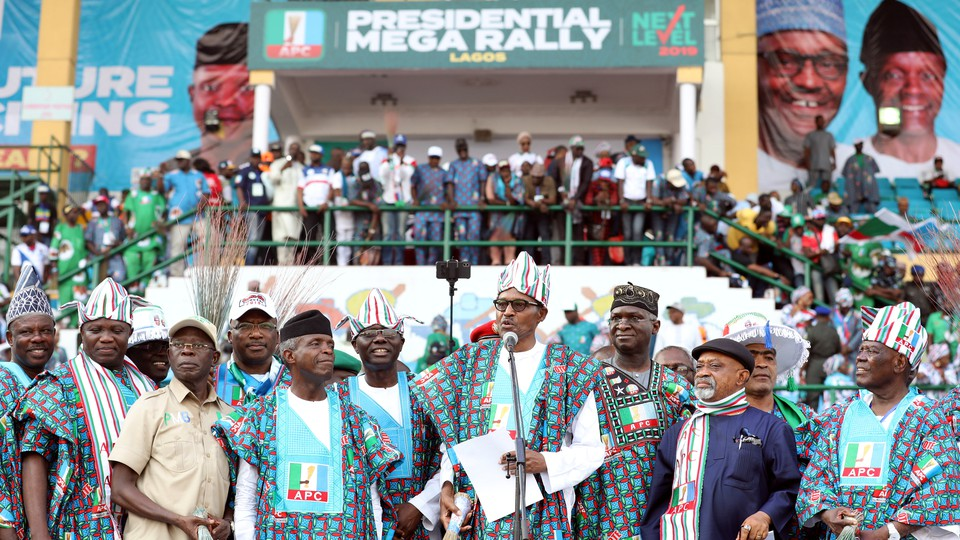 Nigeria's President Muhammadu Buhari speaks at a campaign rally on February 9 in Lagos.