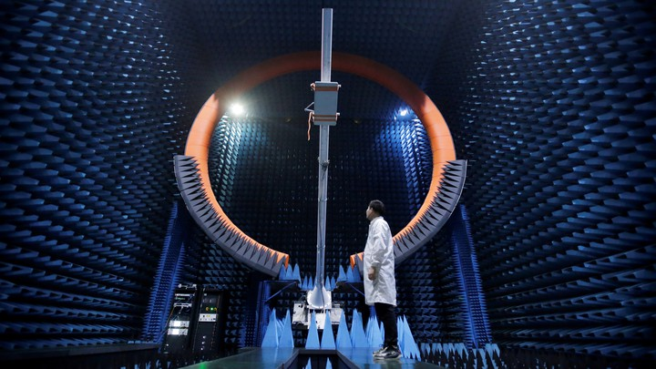 An engineer works at a Huawei manufacturing center in Dongguan, China.
