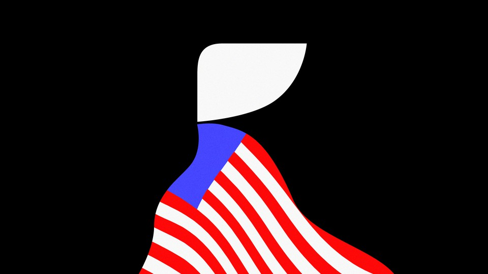 Silhouette of a handmaid draped with an American flag