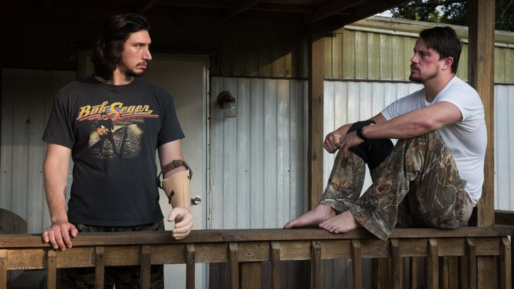 Adam Driver and Channing Tatum in a scene from Steven Soderbergh's 'Logan Lucky'