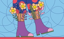 A person's legs clad in polka-dot pants and purple boots, while smiling flowers grow out of the boots
