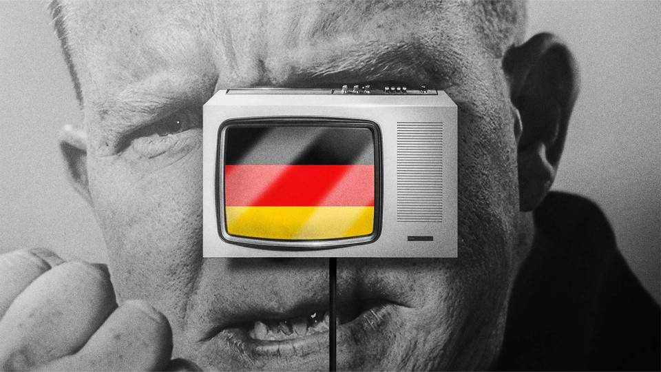 Illustration of an angry man whose face is obscured by a television displaying the German flag