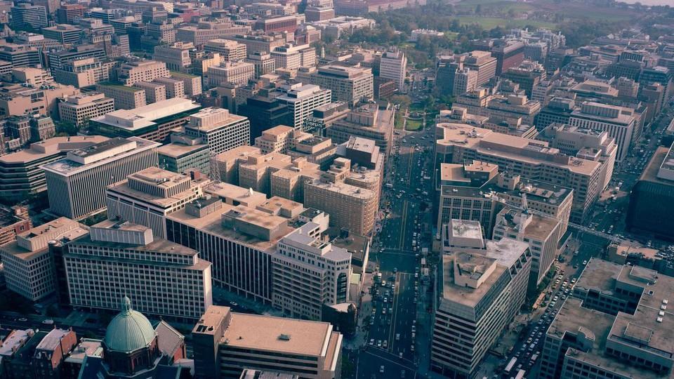 Panorama aerial view of Washington, D.C.