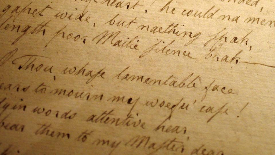 A handwritten manuscript by the Scottish poet Robert Burns