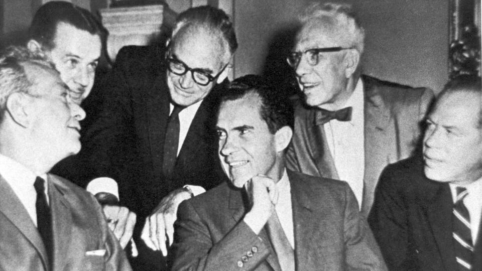 Republican leaders in 1960: Senators Everett Dirksen, Hugh Scott, Barry Goldwater, George Aiken, and Thomas Kuchel, with Vice President Richard Nixon