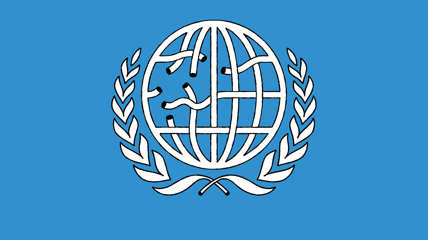 Illustration similar to UN logo with globe's latitude and longitude lines as a broken net