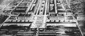 An early 1900s architectural drawing of a grand linear park.