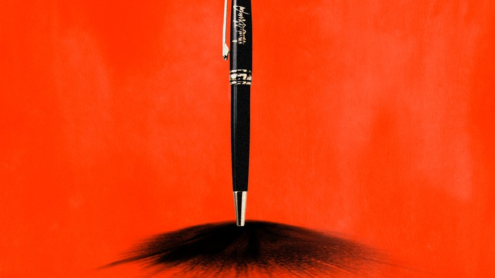 An illustration of a pen hitting paper.