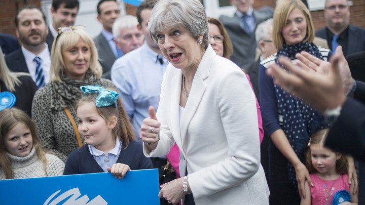 Theresa May greets supporters in Dudley, England, in May 2018.