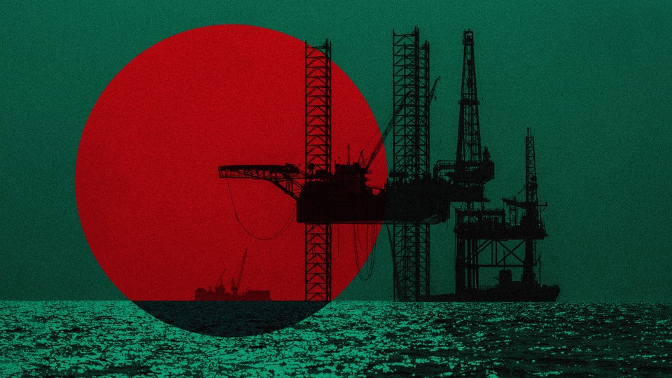 An offshore rig laid over the Bangladesh flag