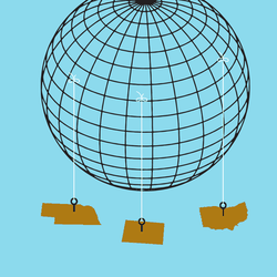 An illustration of the globe with the states Nebraska, Ohio, and Colorado hanging on threads