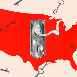 An illustration of a map of the U.S. with a keyhole.