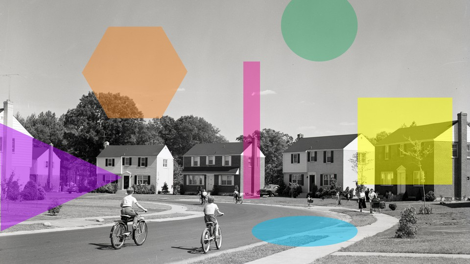 An illustration of geometric shapes superimposed on a suburb