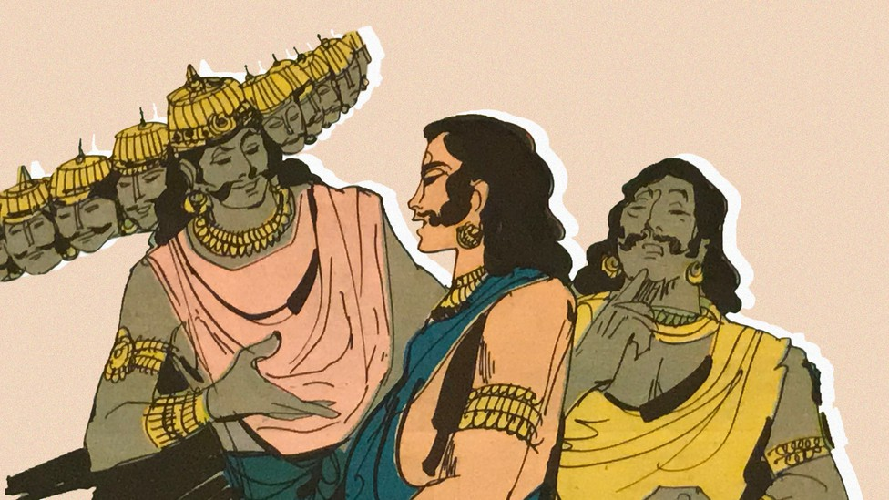 Part of a panel from the inside of 'The Lord of Lanka'