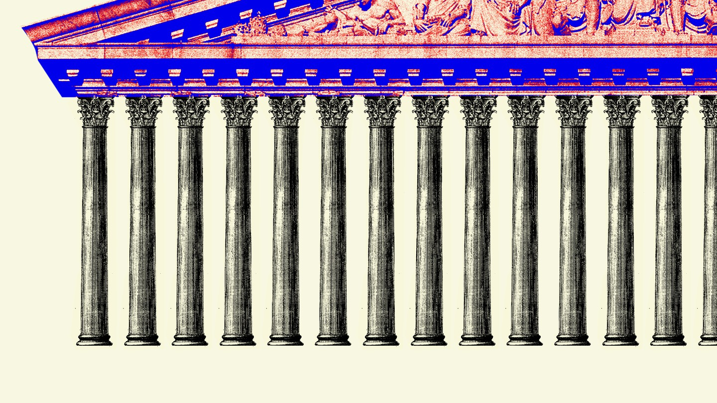 A red and blue Supreme Court roof rests atop dozens of pillars