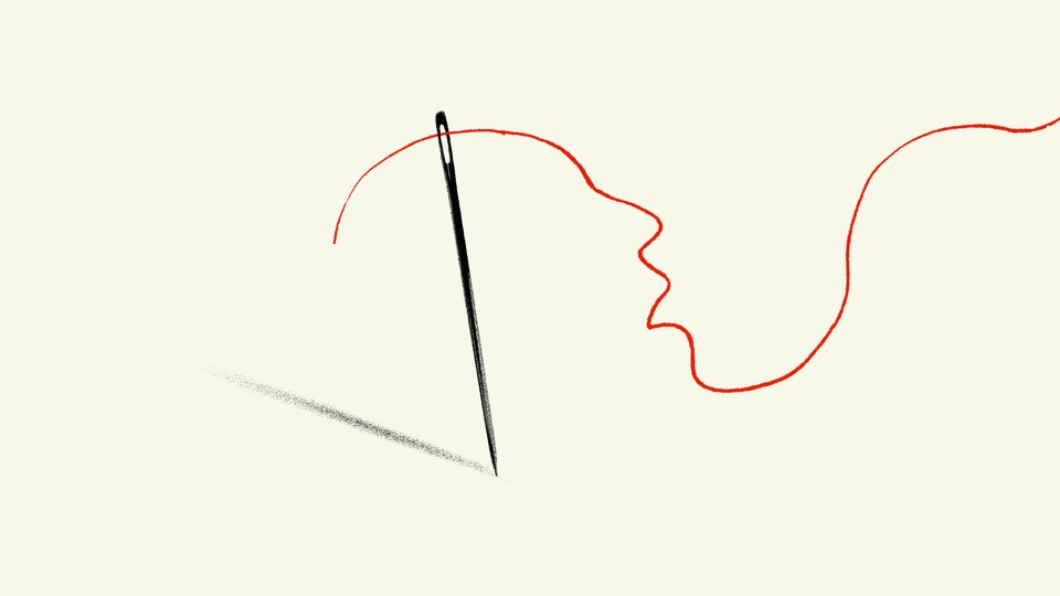 An illustration of a needle and thread making out a face in pain