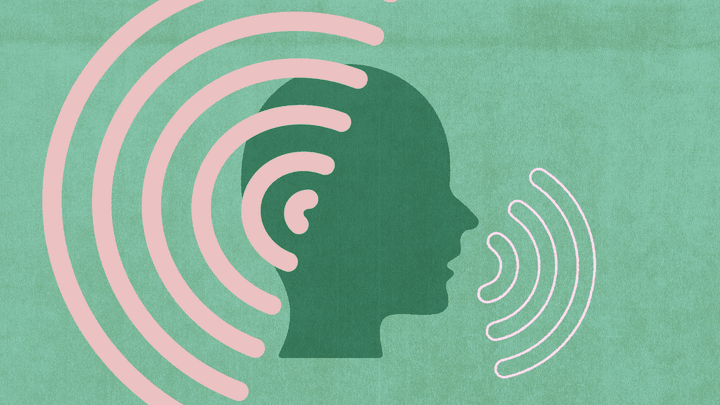 An illustration of a person with sound waves around them.