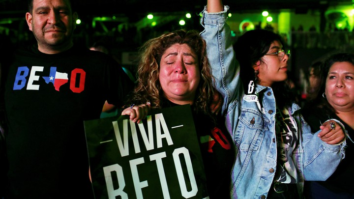 A supporter cries as Beto O'Rourke concedes at his election night party.