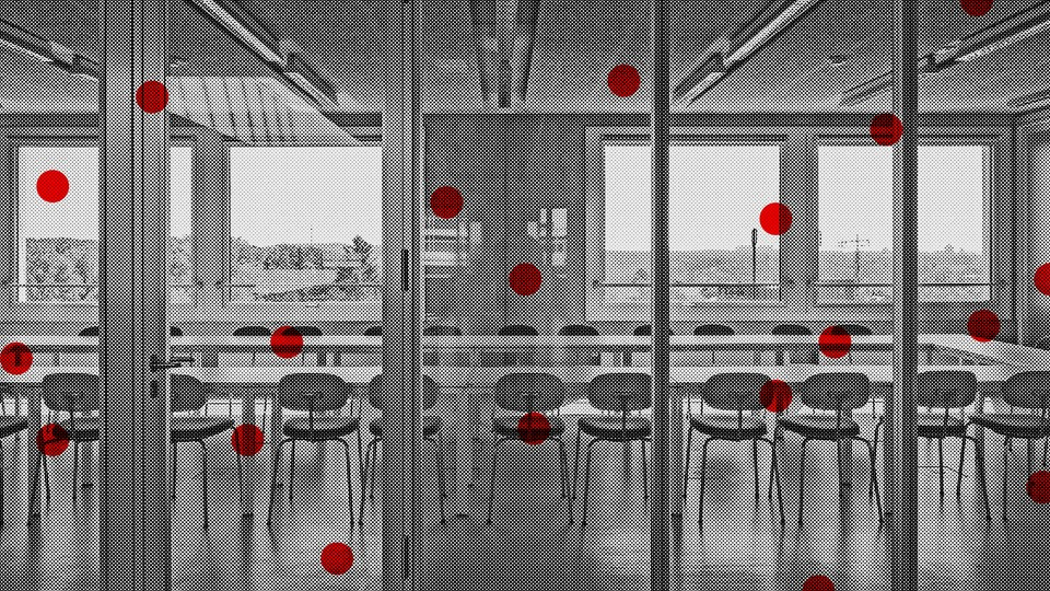 An illustration of a black-and-white conference room overlaid with red dots