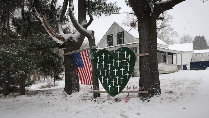 A memorial for victims of the Sandy Hook shooting.