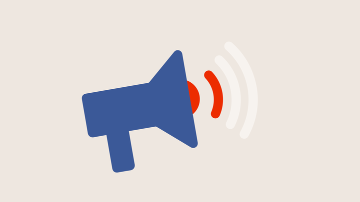 A megaphone emitting muted sound waves