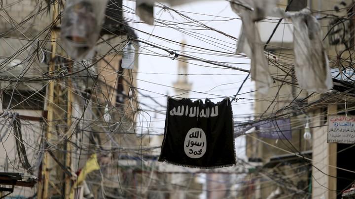 An Islamic state flag hangs in Southern Lebanon.