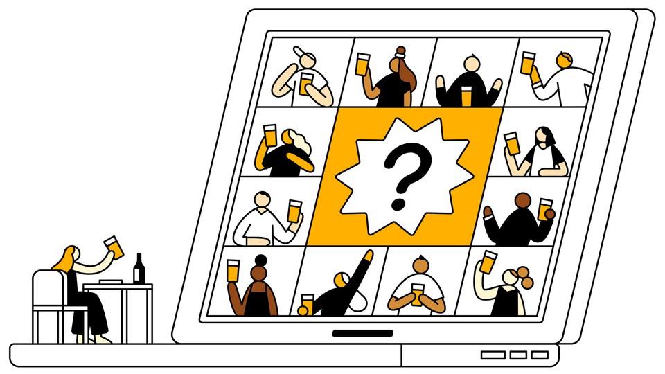 An illustration of a person drinking a beer in front of a laptop displaying others in a videoconference also having drinks.