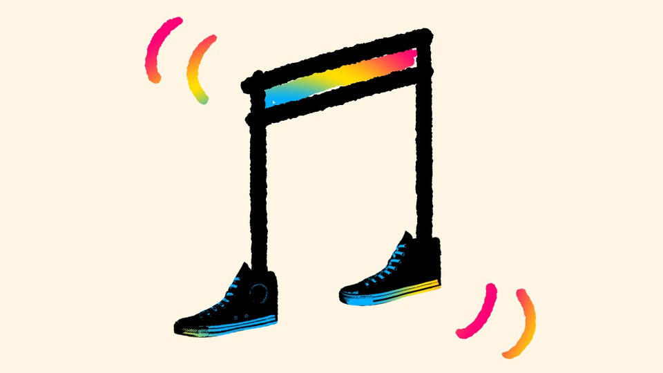 Multi-colored music notes with converse on