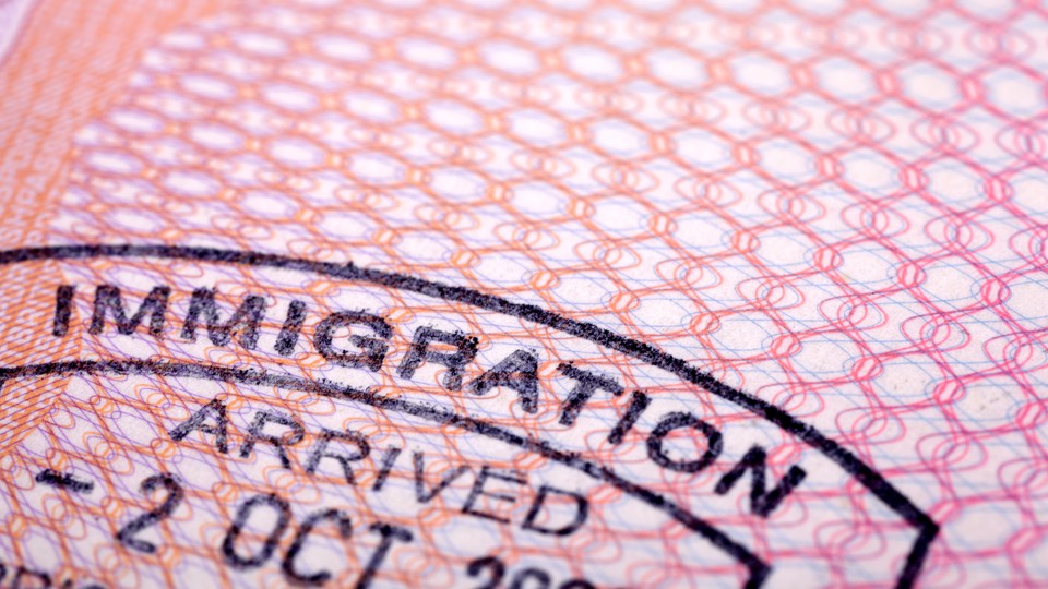 A close-up photo of a passport stamp