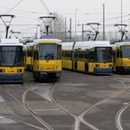 Berlin streetcars are pictured.