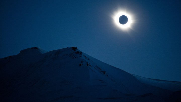 A total solar eclipse in Svalbard, Longyearbyen, Norway, on March 20, 2015